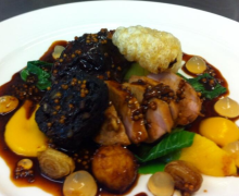 Pork Fillet, Braised Cheek, Homemade Black Pudding and Crackling