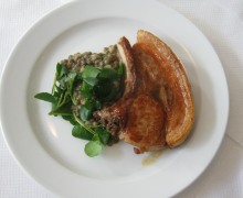 Rare Breed Pork Chops with Lentils and Watercress